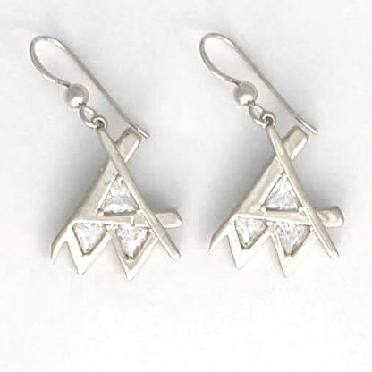 Em Earring Silver Clear Stone