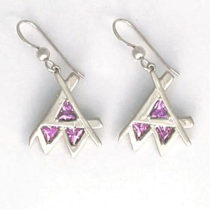 Em Earring Silver Purple Stone