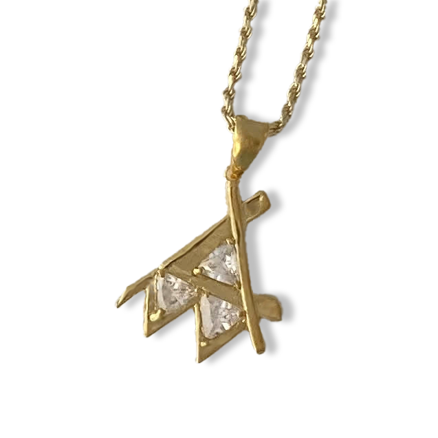 Em Gold Pendant Clear Stone