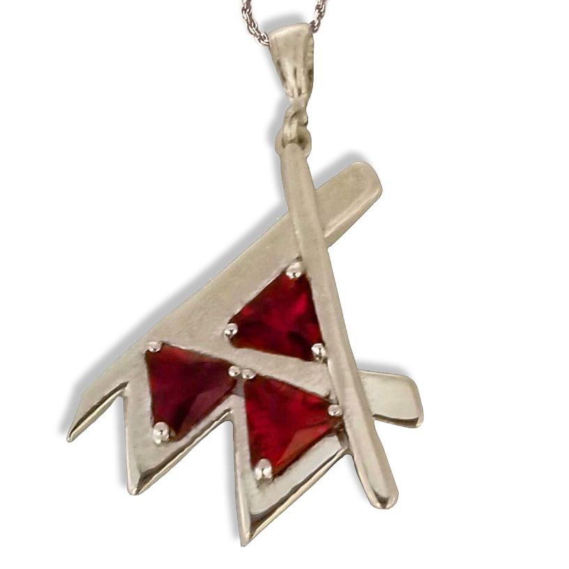 Em Pendant Silver Red Stone