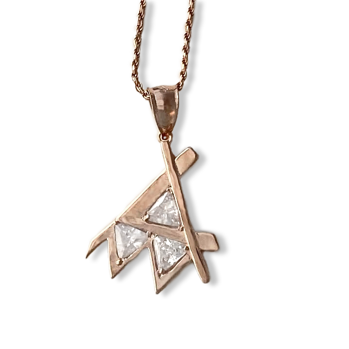 Em Pendant Rose Gold Clear Stone